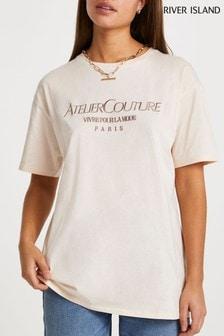 River Island Beige Atelier Embroidered Boyfriend T-Shirt