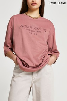 River Island Brown Light Atelier Embroidered Oversized T-Shirt