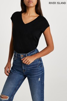 River Island Black V-Neck T-Shirt