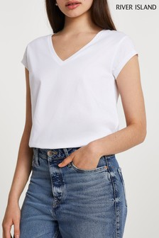 River Island White V-Neck T-Shirt