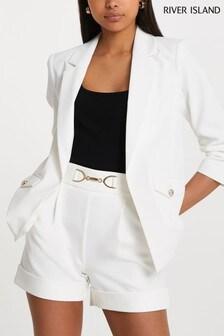 River Island White E2E Pocket Detail Blazer