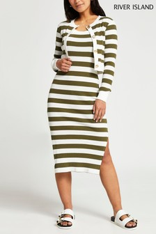 River Island Green Dark Stripe Midi Dress And Cardigan Set