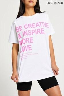 River Island White Be Creative Jumbo T-Shirt