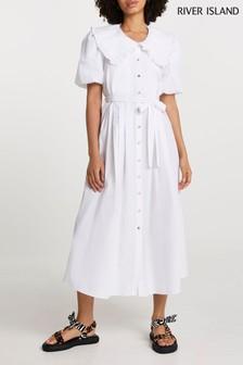 River Island White Puff Sleeve Collar Poplin Midi Dress