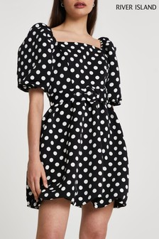 River Island Black Short Sleeve Spot Puffball Belted Mini Dress