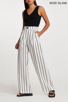 River Island White Stripe Pleat Wide Trousers