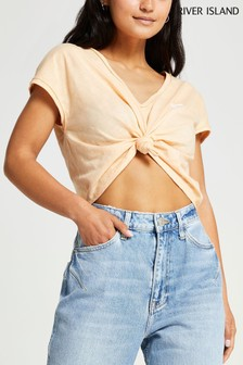 River Island Beige Knot Front Top