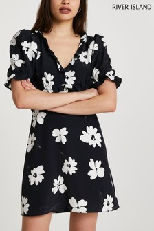 River Island Black Short Sleeve Open Back Tea Mini Dress