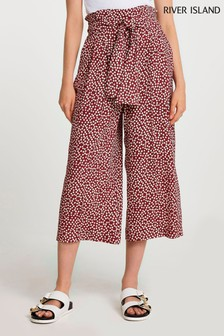 River Island Red Dark Spot Printed Belted Culottes