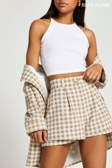 River Island Light Brown Gingham Double Layer Shorts