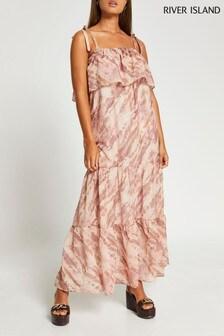 River Island Beige Marble Tie Bardot Maxi Dress