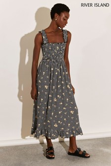 River Island Black Shirred Gingham Midi Dress