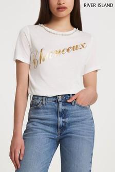 River Island Cream Chanceux Linen Diamanté T-Shirt
