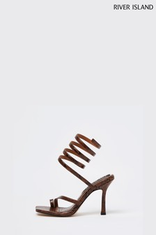 River Island Brown Ankle Wrap Heel Sandals
