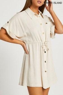 River Island Beige Waisted Shirt Mini Dress