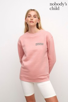 Nobody's Child Womens Dusty Pink Kindness Embroidered Longline Sweater