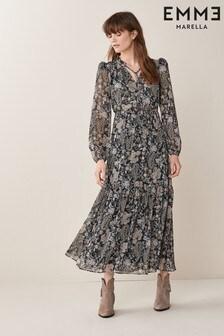 Emme Marella Black Renier Paisley Print Dress
