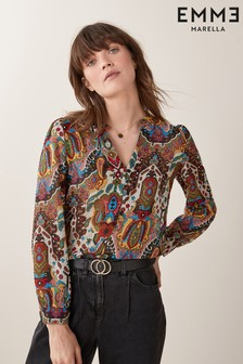 Emme Marella Brown Result Paisley Print Blouse