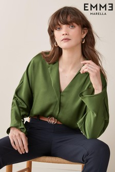 Emme Marella Green Varano Sateen Blouse