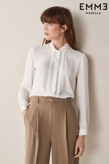 Emme Marella White Premio Ruffle Collar Blouse