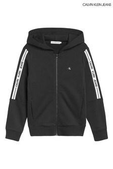 Calvin Klein Jeans Black Intarsia Zip Through Hoodie