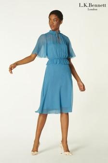 L.K.Bennett Blue Tate Mini Polka Dot Dress