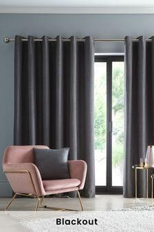 Studio G Black Arezzo Blackout Eyelet Curtains