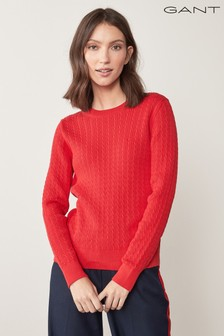 GANT Womens Red Organic Cable Jumper