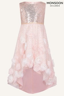 Monsoon Pink Sparkle 3D Flower Dress