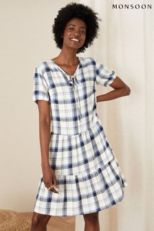 Monsoon Check Print Tunic Dress