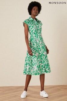 Monsoon Ditsy Floral Jersey Shirt Dress