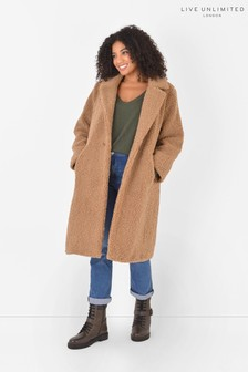 Live Unlimited Brown Curve Teddy Coat