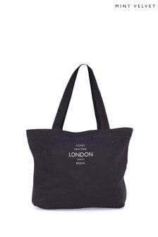 Mint Velvet Black Cotton Canvas Tote Bag