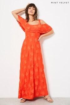Mint Velvet Orange Cold Shoulder Midi Dress