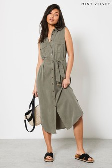 Mint Velvet Khaki Sleeveless Midi Dress