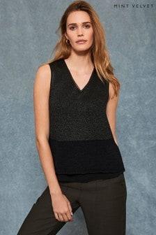 Mint Velvet Black Knitted Blocked Vest Top