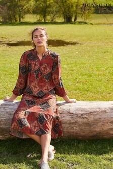 Monsoon Brown Shea Scarf Print Tunic Dress