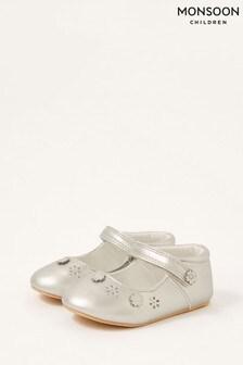 Monsoon Silver 3D Flower Shimmer Walker Shoes