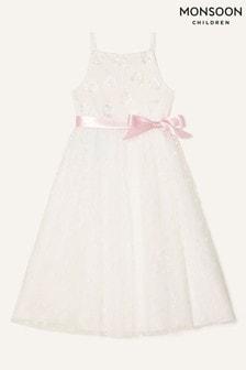 Monsoon Natural 3D Flower Lace Maxi Dress