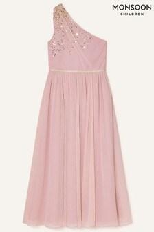 Monsoon Pink Sequin One-Shoulder Prom Dress