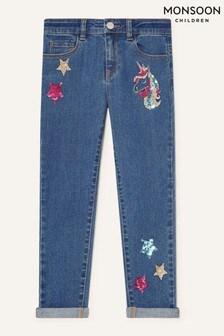Monsoon Blue Sequin Unicorn Jeans