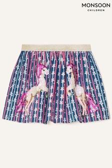Monsoon Blue Sequin Unicorn Star Print Skirt