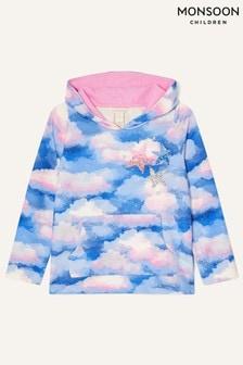 Monsoon Pink Sequin Star Cloud Print Hoody