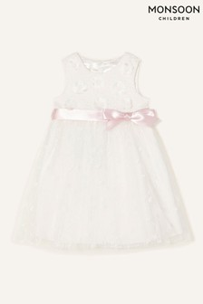 Monsoon Natural Baby Athena Embroidered Dress