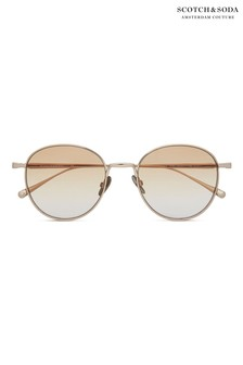 Scotch & Soda Metal Round Eye Shiny Gold Sunglasses