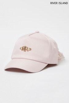 River Island Pink Light Pearl Mesh Bow Back Cap