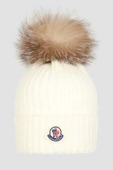 Moncler Enfant Girls White Hat