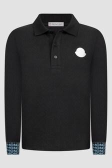 Moncler Enfant Boys Black Long Sleeve Polo Shirt