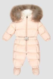 Moncler Enfant Baby Girls Pink New Jean Snowsuit
