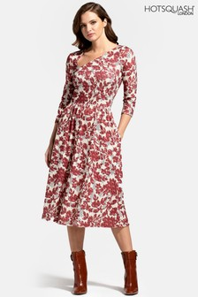 HotSquash Asymmetric Neckline Midi Dress